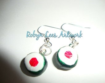 Small Sushi Clay Earrings on Silver Hooks, Japanese Food