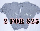 2 Shirts- Bride Shirt, Bride tee, Wifey Shirt, Bride to be, T-shirt, V-Neck, Gifts for Bride , Bridal Shower Gift, Bachelorette Party