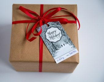 Christmas Gift Tags - Happy Holidays - Set of 5 - Original Photography - London Snow