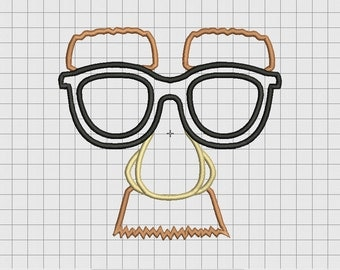 Face Glasses Mustache 4 Layer Applique Embroidery Design in 4x4 5x5 6x6 and 7x7 Sizes