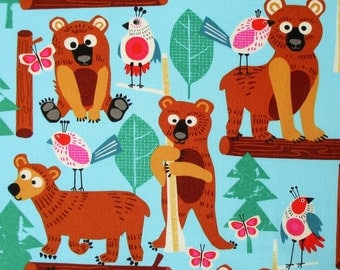 Fabric, Bearly There, Birds Bears Forest on Aqua, Alexander Henry, By The Yard, SALE