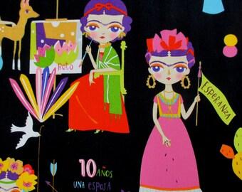 Fabric, Esperanza in Black, Frida Dolls, Alexander Henry, By the Yard