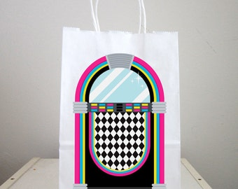 50's Party Goody Bags, 50's Party Favor Bags, 50's Party Favor, Jukebox Goody Bags, Fifties Party Favors