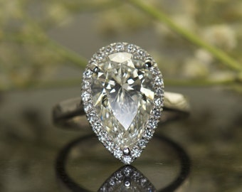 3.5ct Pear Shape Moissanite and Diamond Halo Engagement Ring in White Gold, 12x8mm Forever Brilliant Moissanite, Fit Flush Design, Cindy