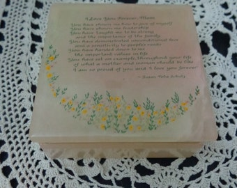 I love you forever , Mom Trinket Box Alabaster Made in Italy Mothers Gift beautiful box susan polis schutz