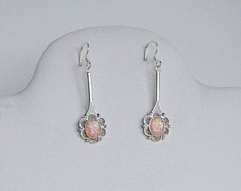 Pink Opal and Sterling Silver Earrings