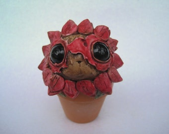 Cute Creature Potted Flower Clay Monster Plant Pink