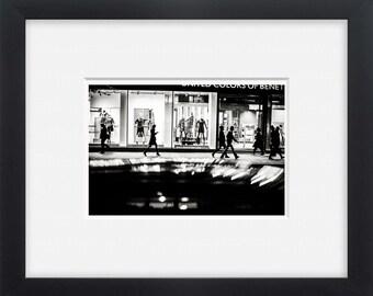 Riga, black and white street photography European art, wall art, horizontal photo print
