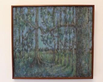 Mid Century Modern L. Wiertella Impressionist Painting Signed Acrylic
