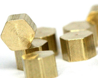 "Raw Brass hexagonal industrial design 30 pcs 4 x 3 mm 1/4"" x 1/8""  1297R"
