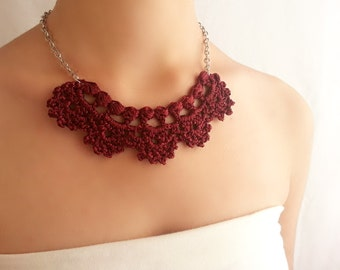 Fine maroon necklace ,  Burgundy necklace ,  Costume jewelry ,  Cute short necklace ,  Elegant bib necklace  , Garnet necklace