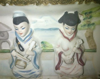 Vintage Asian Wall Plaque ESD Hand Painted
