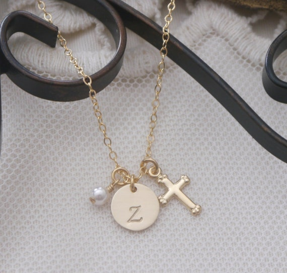 Dainty Gold Cross Necklace Baby Dedication Gift Girl Baptism