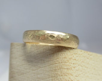 14K Yellow Gold Hammered Wedding Band| 3.5mm Half Round for Him or Her| Ethical and Eco Friendly