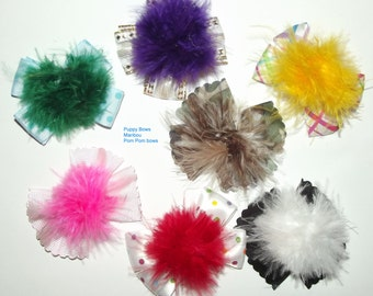 Puppy Bows ~ Marabou feather pom pom puff dog pet hair bow - 7 colors USA made and sold