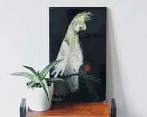 Vintage picture macaw parrot Japonism  art deco painting monogram lacquered wall hanging