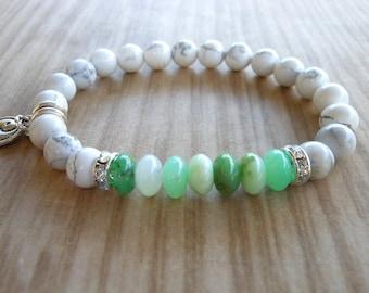 Chrysoprase Mala Bracelet, Healing & Balancing, Mala Bracelet, Yoga, Buddhist, Meditation, Prayer Beads
