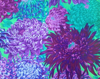 Japanese Chrysanthemum  PURPLE PJ041 Philip Jacobs for Kaffe Fassett fabric Sold in 1/2 yd increments