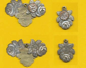 Large French Hinge Slide rose flower silvered bronze Religious Medal pendant Our Lady of Lourdes - Mary (ref 0501)