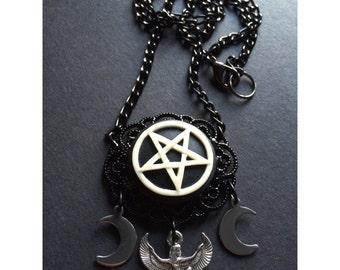 Occult egyptian pentagram necklace