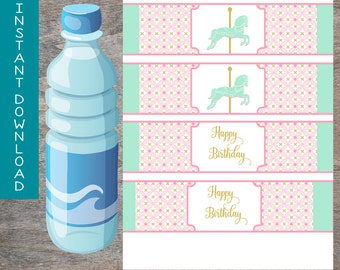 Carousel Horse water bottle wraps labels foldable printable and digital file | Pony Pink Mint Gold Birthday Party