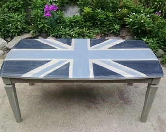 Grey Union Jack Coffee Table / Grey Distressed Coffee Table