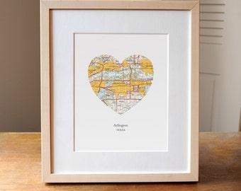 Arlington TX Heart Map Print, Arilington Texas Heart Map Print, Gift for Friend, Wedding gift, Anniversary gift