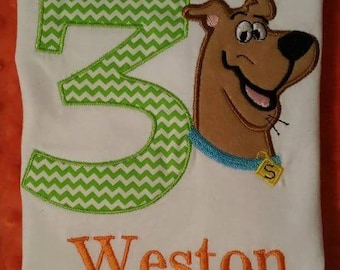 Custom Scooby Doo birthday shirt/onesie. Personilzed with any number or name..both boy or girl!