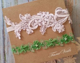 Wedding garter set,white and Green Garter,Rhinestone white Garter, Bridal garters Green ,bridal garter,Floral lace garter,Garter Set