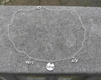 Hope, Love, Joy charm necklace
