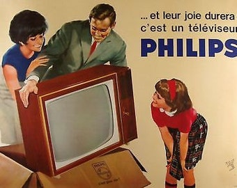 1960's French Phillips Television Ad A3 Poster Reprint