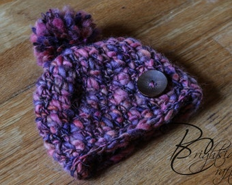 READY TO SHIP Crochet Newborn Prop Button Hat Pom Pom Crochet Purple/Pink/Brown Newborn Photo Prop Crochet Beanie
