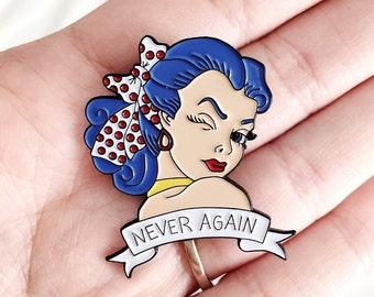 """X files """"Never Again"""" pinup enamel pin"""