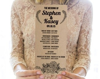 Printed OR Printable Wedding Program // Kraft Succulent