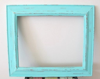 Rustic Photo Frame, Distressed Frame, Wooden Picture Frame, Spearmint Blue 8x10 Photo Frame Shabby chic frame, Wedding frame, Beach decor