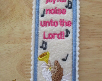 Make a joyful noise, angel,  book mark, Bible verse, machine embroidery, book lover,