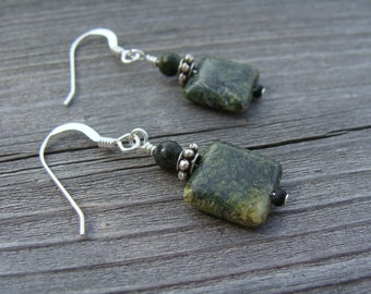 Sterling Silver Earrings with Green Lace Stone Beads