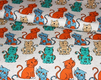 Linen - cotton fabric with the bright cats