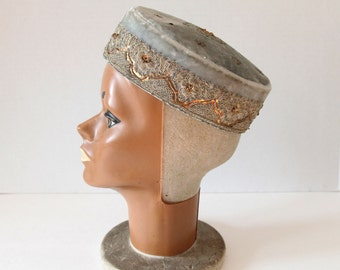 1960 Vintage // Victorian // Embroidered Velvet Cap // Vintage Millinery // Pale Blue Marie Antionette
