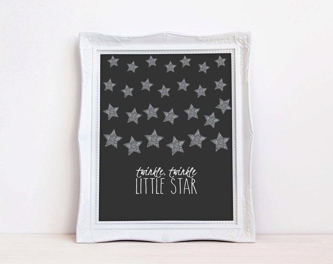 Twinkle Twinkle Little Star Wall Art, Glittler Wall Art, Instant Download, Childrens Wall Art, Kids Wall Art, Nursery Wall Art, DIY Wall Art