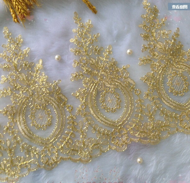 Yards lace trim gold embroidery flower floral wedding