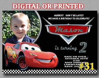 Disney Cars Invitation with Photo YOU Print Digital File or PRINTED Birthday Party Invitation
