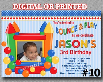 Bounce House Birthday Party Invitation with Photo YOU Print Digital File or PRINTED