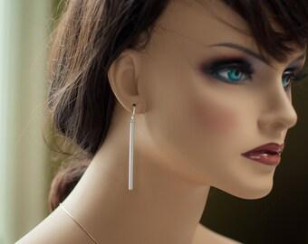 Silver bar earrings long silver earrings long bar earrings silver stick earrings long silver stick earrings long silver stick dangle earring