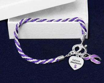 Colitis Purple Ribbon Rope Bracelet (Retail) (RE-B-02-4CO)