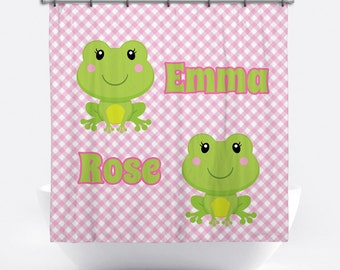 Frog Personalized Shower Curtain for Girls - Frog Shower Curtain - Custom Girl Frog Bath Decor - Girl Frog Personalized Bath Tub Curtain