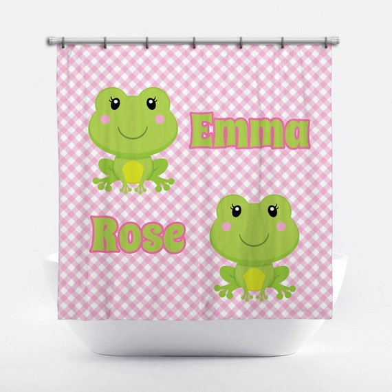 Frog Personalized Shower Curtain for Girls - Frog Shower Curtain ...