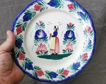 Old Vintage HB Quimper France Country French Hand Painted Pottery Plate Signed