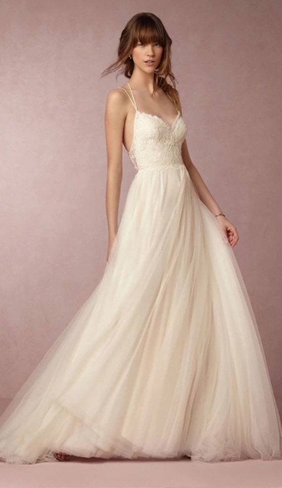 Simple minimal spaghetti strap wedding dress with by oct21ber for Spaghetti strap wedding dress