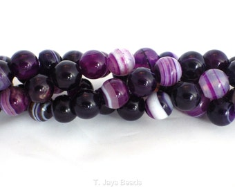 8mm Purple Striped Agate Beads
